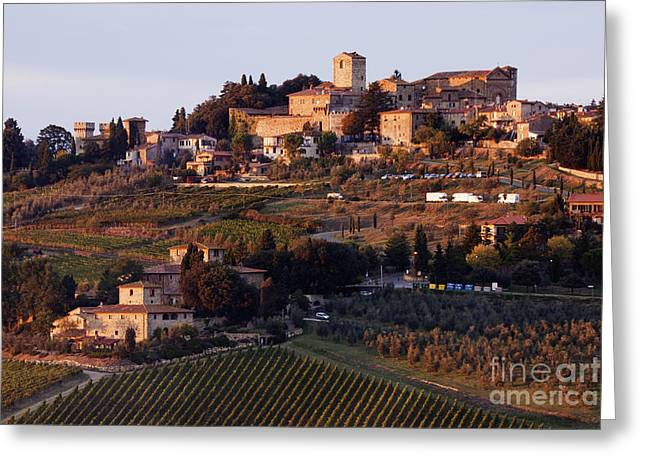 Chianti Hills Photographs Greeting Cards - Hill Town of Panzano at Dusk Greeting Card by Jeremy Woodhouse