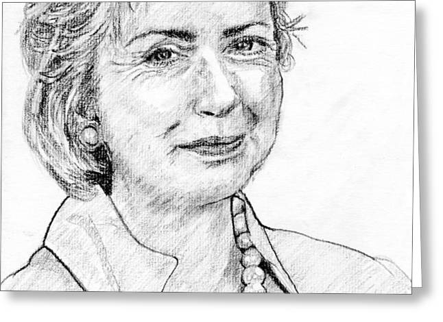 Hillary Clinton Pencil Portrait Greeting Card by Romy Galicia
