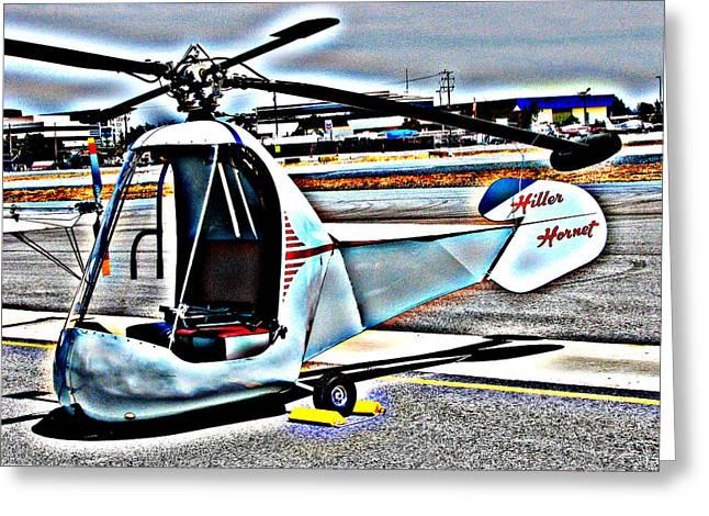 Samuel Sheats Greeting Cards - Hiller Hornet Helicopter Greeting Card by Samuel Sheats