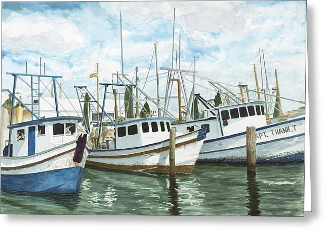 Galveston Paintings Greeting Cards - Hillmans Boats Greeting Card by Don Bosley