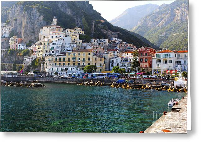 Southern Italy Greeting Cards - Hills of Amalfi Greeting Card by George Oze