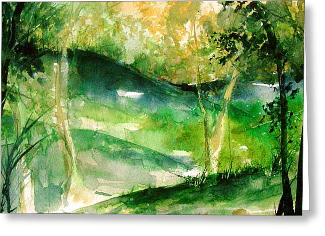 Arkansas Paintings Greeting Cards - Hills of Arkansas Greeting Card by Robin Miller-Bookhout