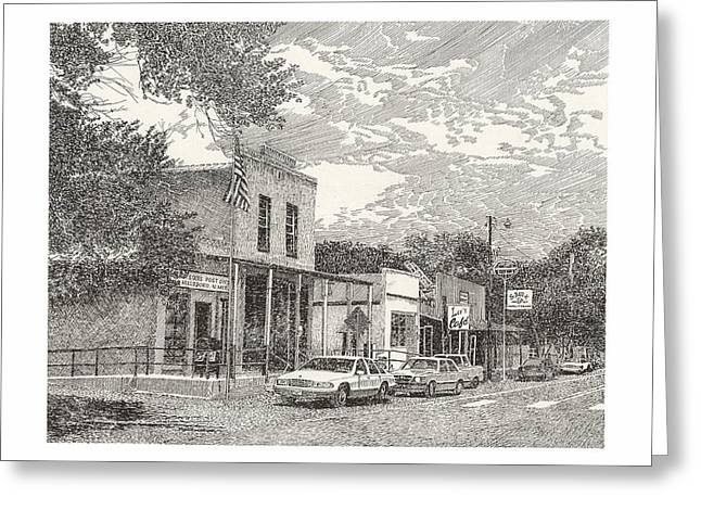 Pen And Ink Framed Prints Greeting Cards - Hillsboro NM Post Office Greeting Card by Jack Pumphrey