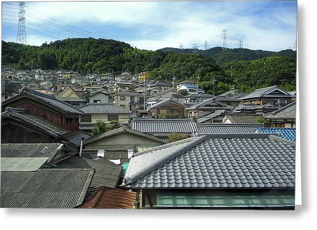 Japan Village Greeting Cards - HILLSIDE VILLAGE in JAPAN Greeting Card by Daniel Hagerman