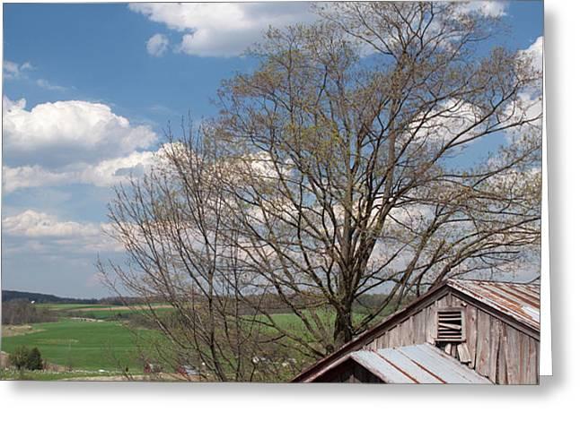 Hillside Weathered Barn Dramatic Spring Sky Greeting Card by John Stephens