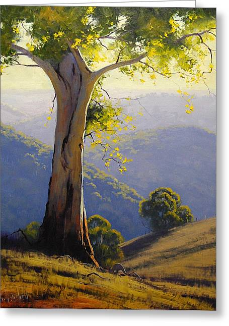 Gum-tree Greeting Cards - Hilly Landscape Greeting Card by Graham Gercken