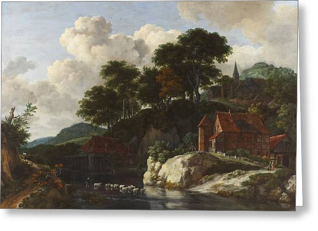 Water Flowing Paintings Greeting Cards - Hilly Landscape with a Watermill Greeting Card by Jacob Isaaksz Ruisdael