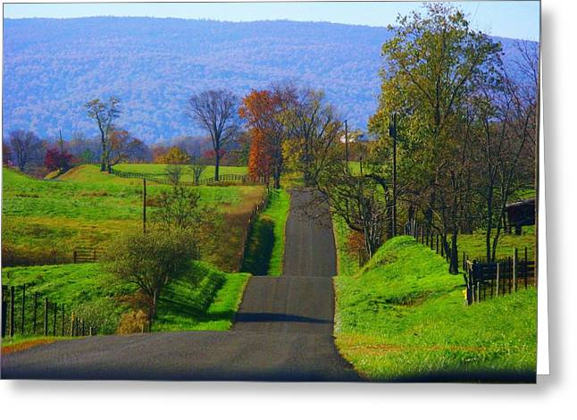 Mountain Road Greeting Cards - Hilly Mountain Road Greeting Card by Joyce Kimble Smith