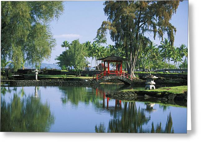 Asian Influence Greeting Cards - Hilo, Liliuokalani Garden Greeting Card by Ron Dahlquist - Printscapes