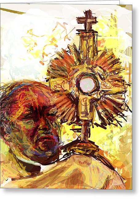 Sacrament Greeting Cards - Him Greeting Card by James Thomas
