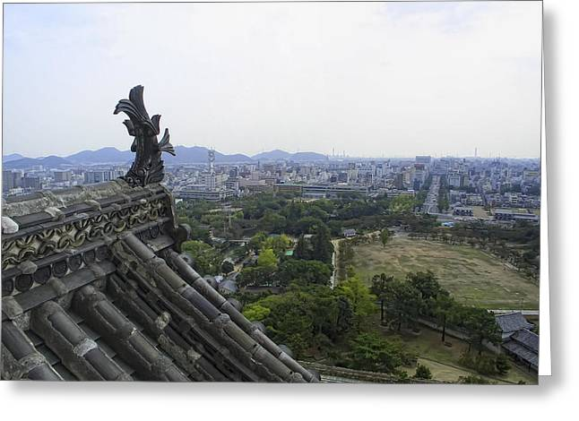 Kyoto Greeting Cards - HIMEJI CITY from SHOGUNS CASTLE Greeting Card by Daniel Hagerman