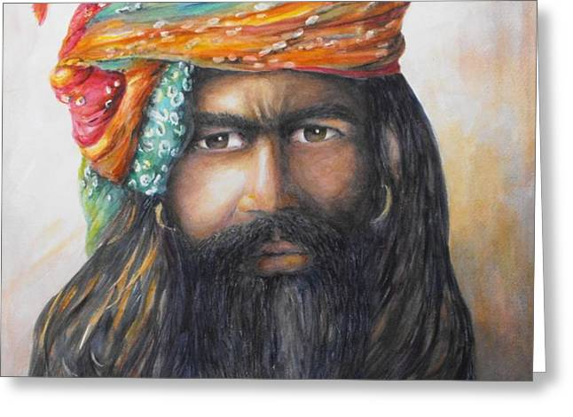 Hindu Holy Man Greeting Card by Debra  Bannister