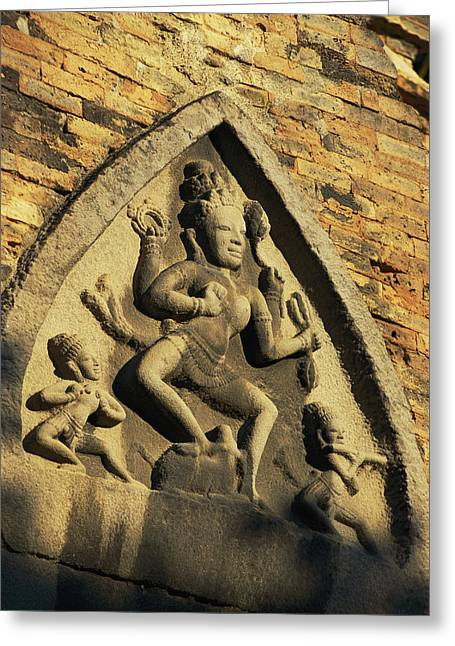 Indochinese Architecture And Art Greeting Cards - Hindu-influenced Art Above The Entrance Greeting Card by Steve Raymer