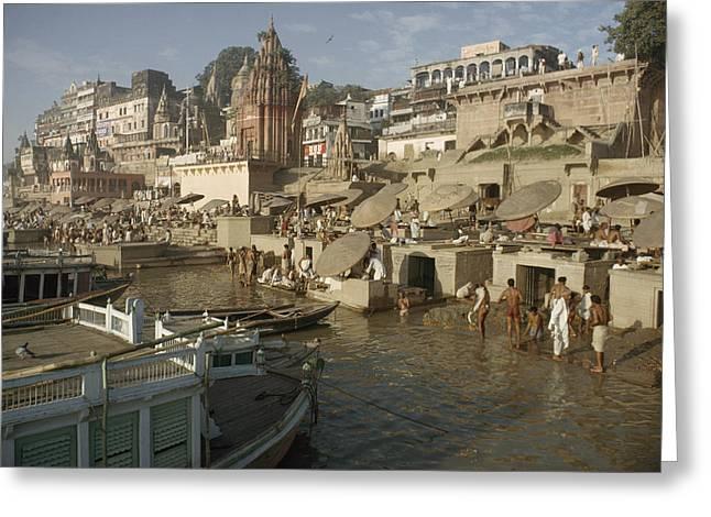 The Ganges Greeting Cards - Hindu Pilgrims Wash Away Sins Greeting Card by John Scofield