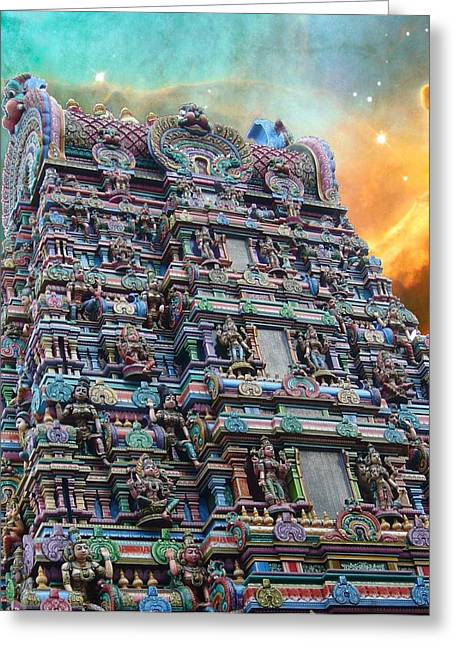 Hindu Goddess Greeting Cards - Hindu Temple Cosmos 1 Greeting Card by Gregory Smith