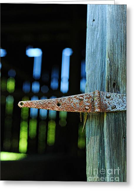 Hinges Greeting Cards - Hinge With Barn Interior In The Background Greeting Card by HD Connelly