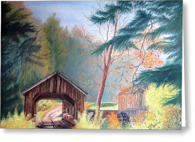 Covered Bridge Pastels Greeting Cards - Hints of Fall Greeting Card by Maris Sherwood