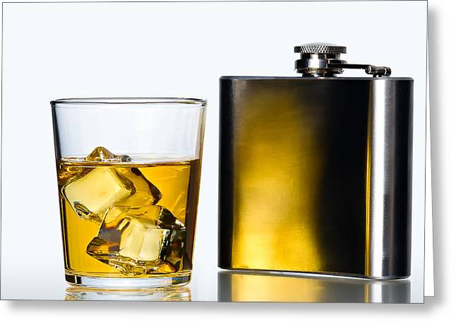 Stainless Steel Greeting Cards - Hip Flask Greeting Card by Gert Lavsen