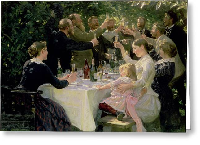 Drinks Greeting Cards - Hip Hip Hurrah Greeting Card by Peder Severin Kroyer