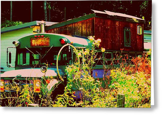 Rural School Bus Greeting Cards - Hippie Camping Greeting Card by Cindy Wright