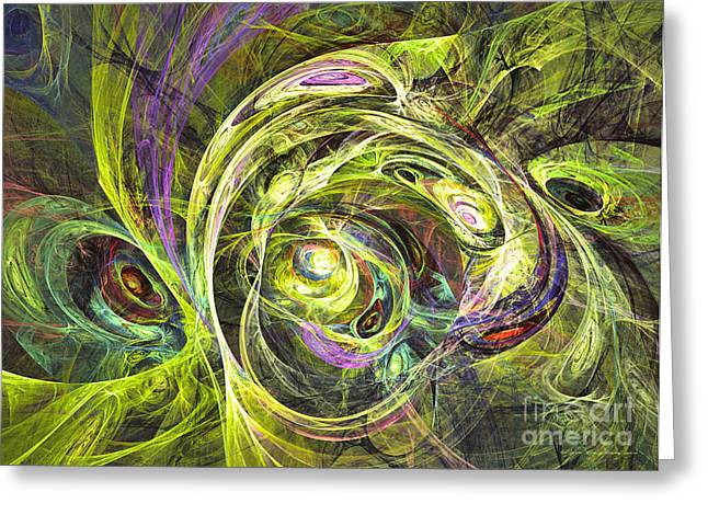 Interior Still Life Mixed Media Greeting Cards - Hippies - abstract art Greeting Card by Abstract art prints by Sipo
