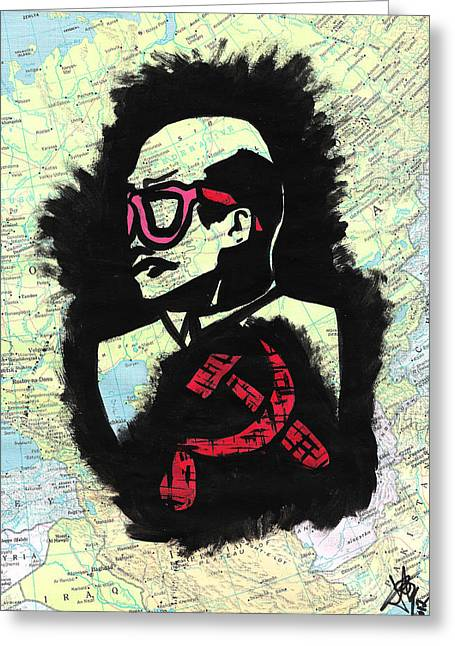 Ilustration Greeting Cards - Hipster Lenin Greeting Card by Jera Sky