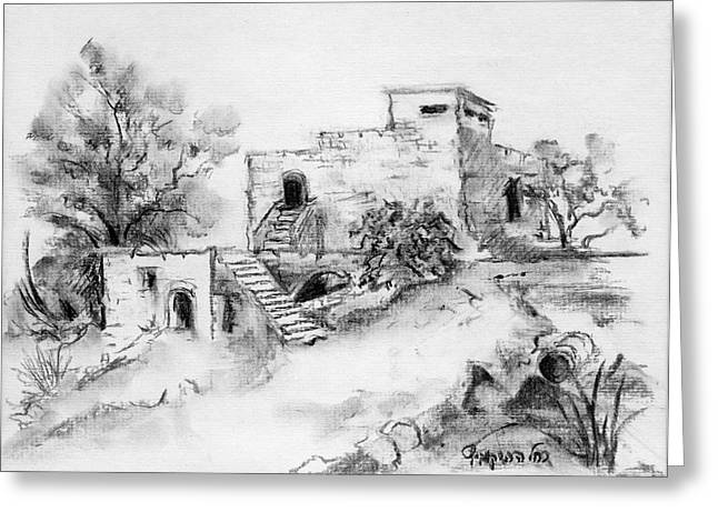 Stepping Stones Drawings Greeting Cards - Hirbe landscape in Afek black and white old building ruins trees bricks and stairs Greeting Card by Rachel Hershkovitz