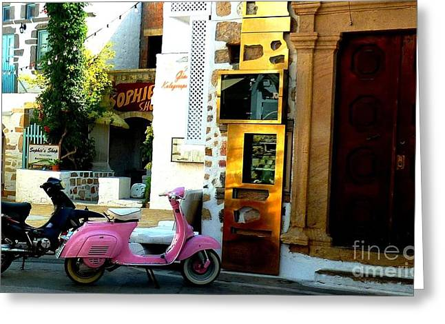 His And Hers Vespas At The Gallery Greeting Card by Therese Alcorn