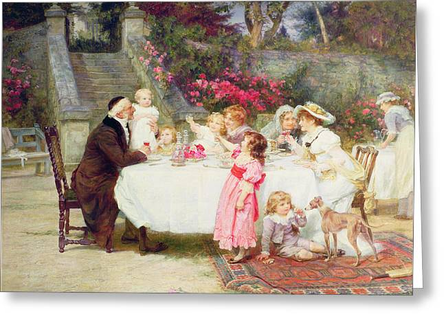 Cricket Paintings Greeting Cards - His First Birthday Greeting Card by Frederick Morgan