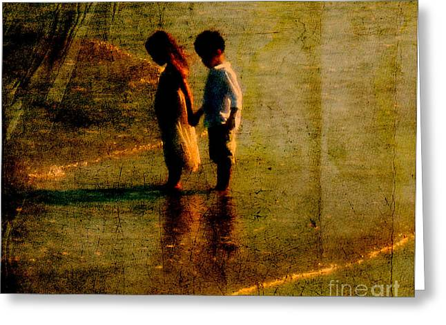 Evening Dress Greeting Cards - His Kindergarten Sweetheart Greeting Card by Susanne Van Hulst