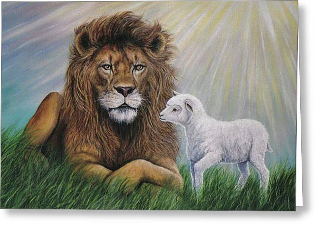 Lion Lamb Greeting Cards - His Kingdom Come Greeting Card by Fawn McNeill