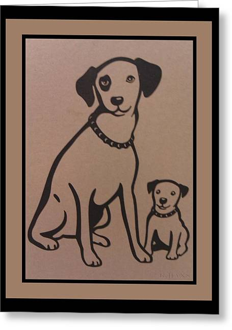 Chipper Greeting Cards - His Masters Voice - Nipper And Chipper Greeting Card by Rob Hans