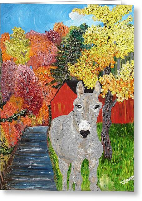 House Pet Mixed Media Greeting Cards - His Red Abode Greeting Card by Lisa Kramer