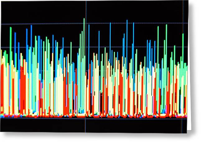 Line Graph Greeting Cards - Histogram Greeting Card by Johnny Greig