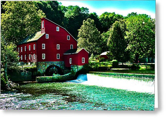 Old Mill Scenes Digital Greeting Cards - Historic Clinton Red Mill  Greeting Card by Jeff Stein