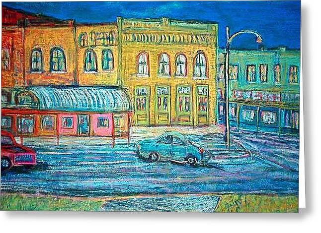 Small Towns Pastels Greeting Cards - Historic downtown Elgin at twilight Greeting Card by Richalyn Marquez