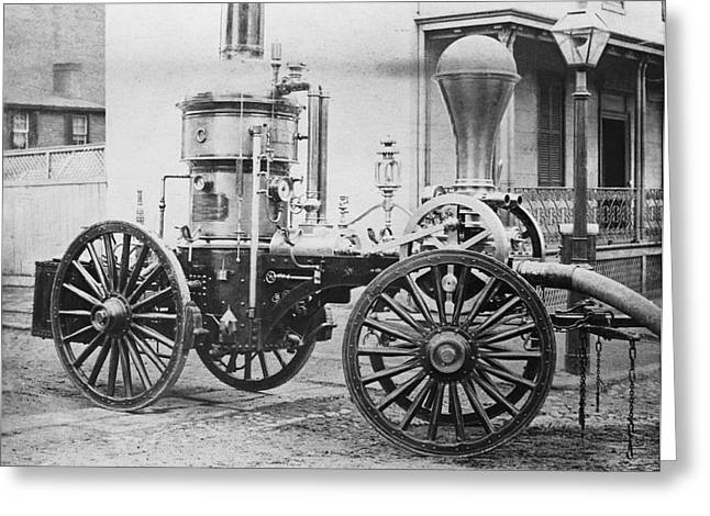 Emergency Vehicle Greeting Cards - Historic Fire Engine Greeting Card by Omikron