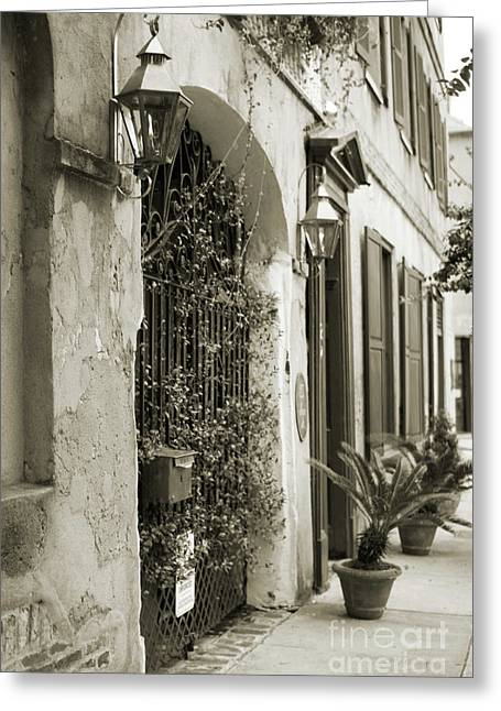 Historic Home Greeting Cards - Historic Home Wrought Iron Gate Charleston Sepia Greeting Card by Dustin K Ryan