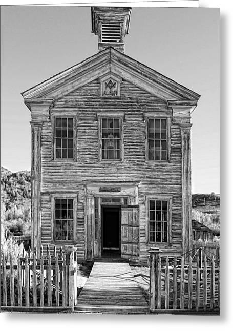 Old School House Greeting Cards - HISTORIC MASONIC LODGE 3777 in BANNACK MONTANA GHOST TOWN Greeting Card by Daniel Hagerman