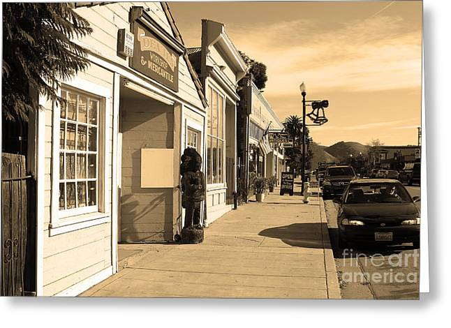 Historic Niles District In California Near Fremont . Devils Workshop And Mercantile . 7d10663 .sepia Greeting Card by Wingsdomain Art and Photography