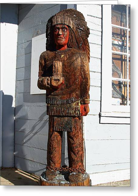 Historic Niles District In California Near Fremont . Indian Statue At The Devils Workshop And Mercan Greeting Card by Wingsdomain Art and Photography