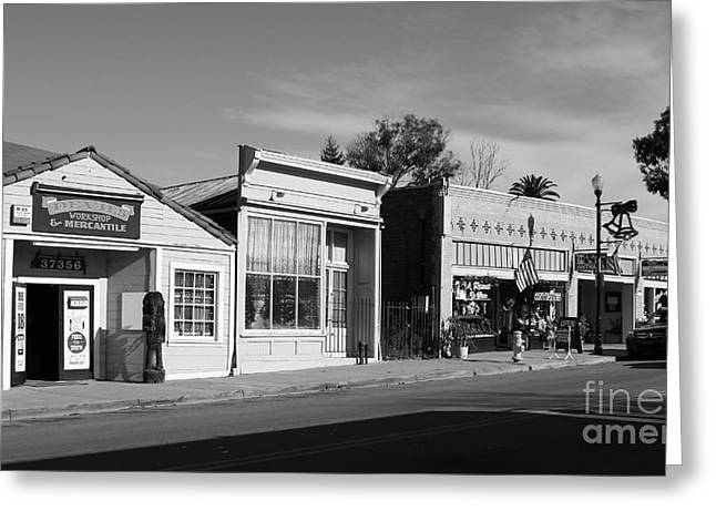 Long Street Greeting Cards - Historic Niles District in California Near Fremont . Main Street . Niles Boulevard . 7D10676  . bw Greeting Card by Wingsdomain Art and Photography