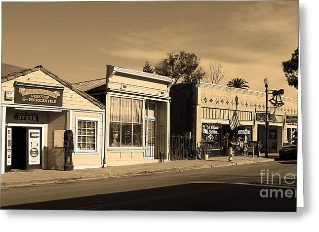 Long Street Greeting Cards - Historic Niles District in California Near Fremont . Main Street . Niles Boulevard . 7D10676 . sepia Greeting Card by Wingsdomain Art and Photography