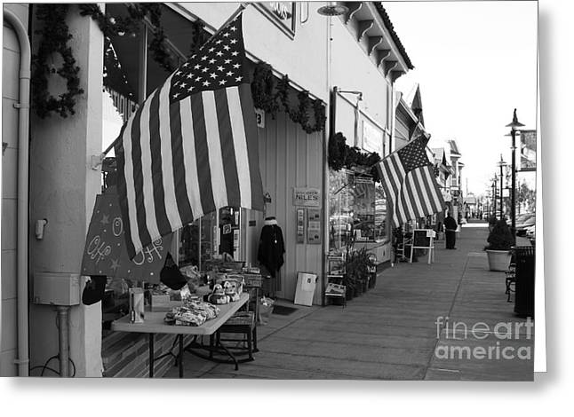 Niles Main Street Greeting Cards - Historic Niles District in California Near Fremont . Main Street . Niles Boulevard . 7D10692 . bw Greeting Card by Wingsdomain Art and Photography