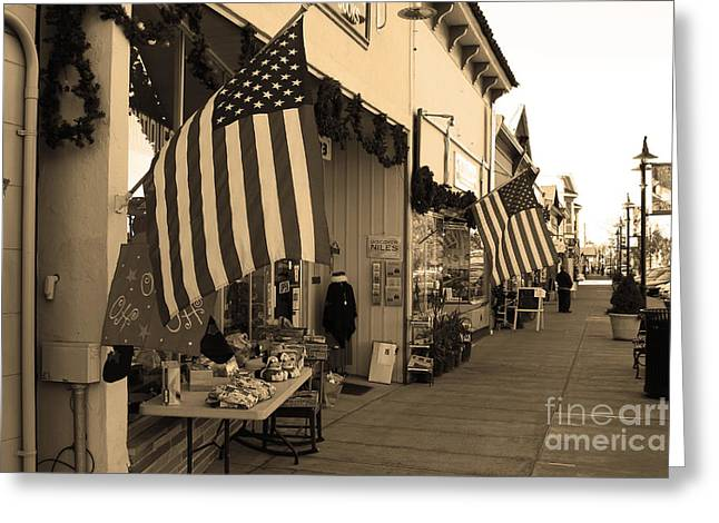 Historic Niles District in California Near Fremont . Main Street . Niles Boulevard . 7D10692 . sepia Greeting Card by Wingsdomain Art and Photography