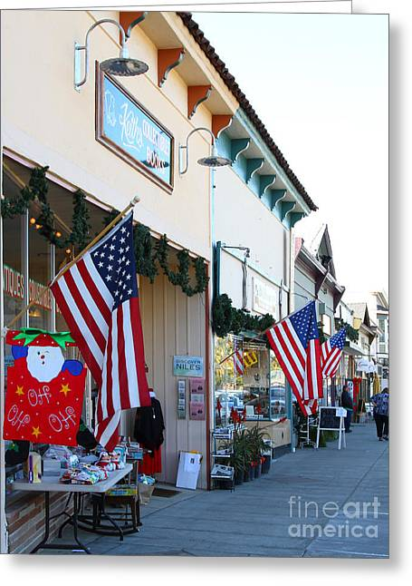 Niles Main Street Greeting Cards - Historic Niles District in California Near Fremont . Main Street . Niles Boulevard . 7D10693 Greeting Card by Wingsdomain Art and Photography