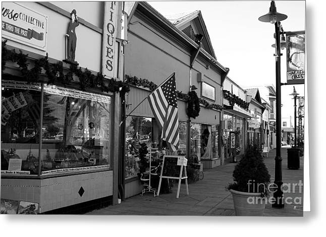 Historic Niles District in California Near Fremont . Main Street . Niles Boulevard . 7D10701 . bw Greeting Card by Wingsdomain Art and Photography