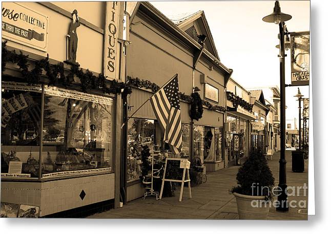 Historic Niles District in California Near Fremont . Main Street . Niles Boulevard . 7D10701 . sepia Greeting Card by Wingsdomain Art and Photography