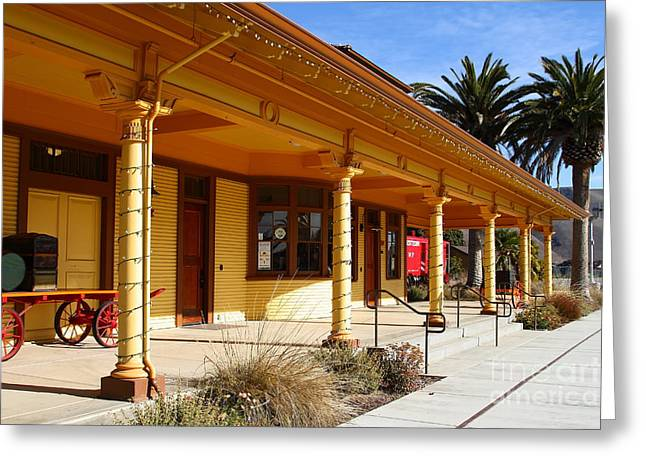 Niles Canyon Railway Greeting Cards - Historic Niles District in California Near Fremont . Niles Depot Museum and Niles Town Plaza.7D10636 Greeting Card by Wingsdomain Art and Photography