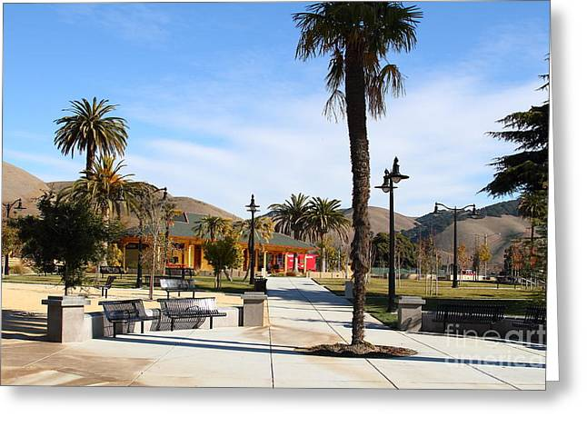 Niles Canyon Railway Greeting Cards - Historic Niles District in California Near Fremont . Niles Depot Museum and Niles Town Plaza.7D10651 Greeting Card by Wingsdomain Art and Photography